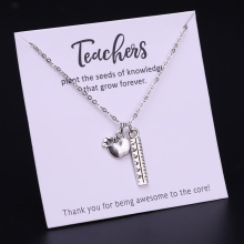 Teach Teacher Apple Necklace Ruler Book Graduation Graduate Choker Necklaces Women Men Unisex Jewelry Drop Shipping
