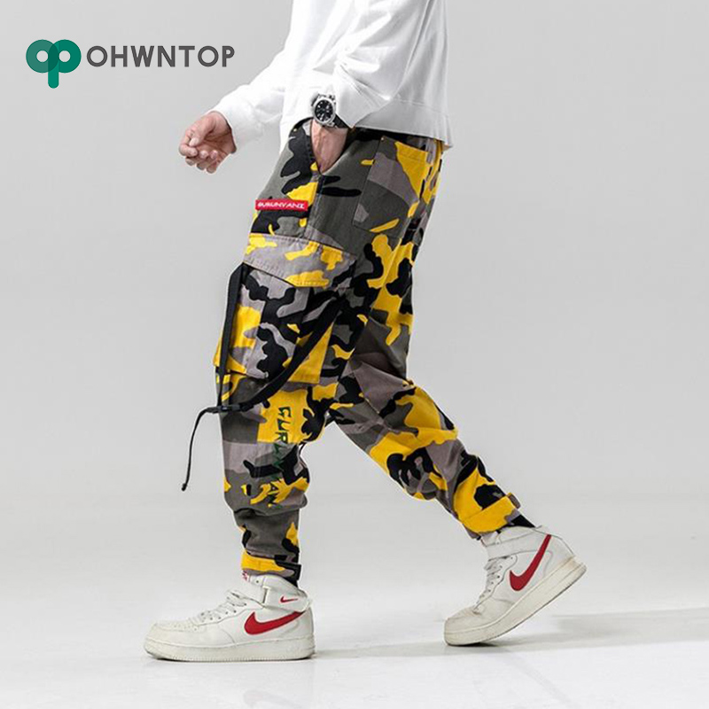 Harem Pants Camouflage Men Cargo Pant Tactical Streetwear Pant Yellow Casual Camo Trousers Multi Pocket Trousers Joggers Pants