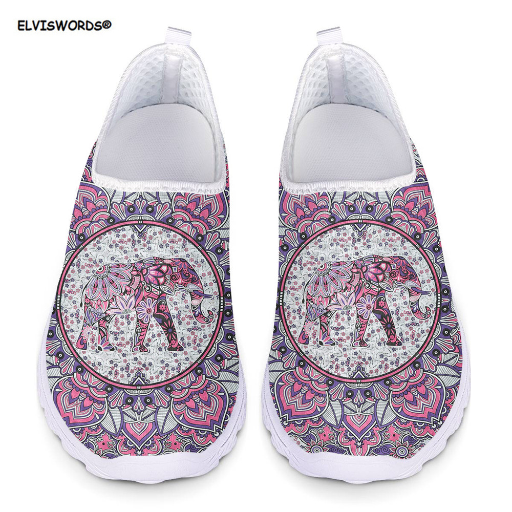 ELVISWORDS Bohemia Elephant Mandala Style Summer Women Sneakers Flats Mesh Breathable Ladies Beach Loafers Shoes Woman Zapatos