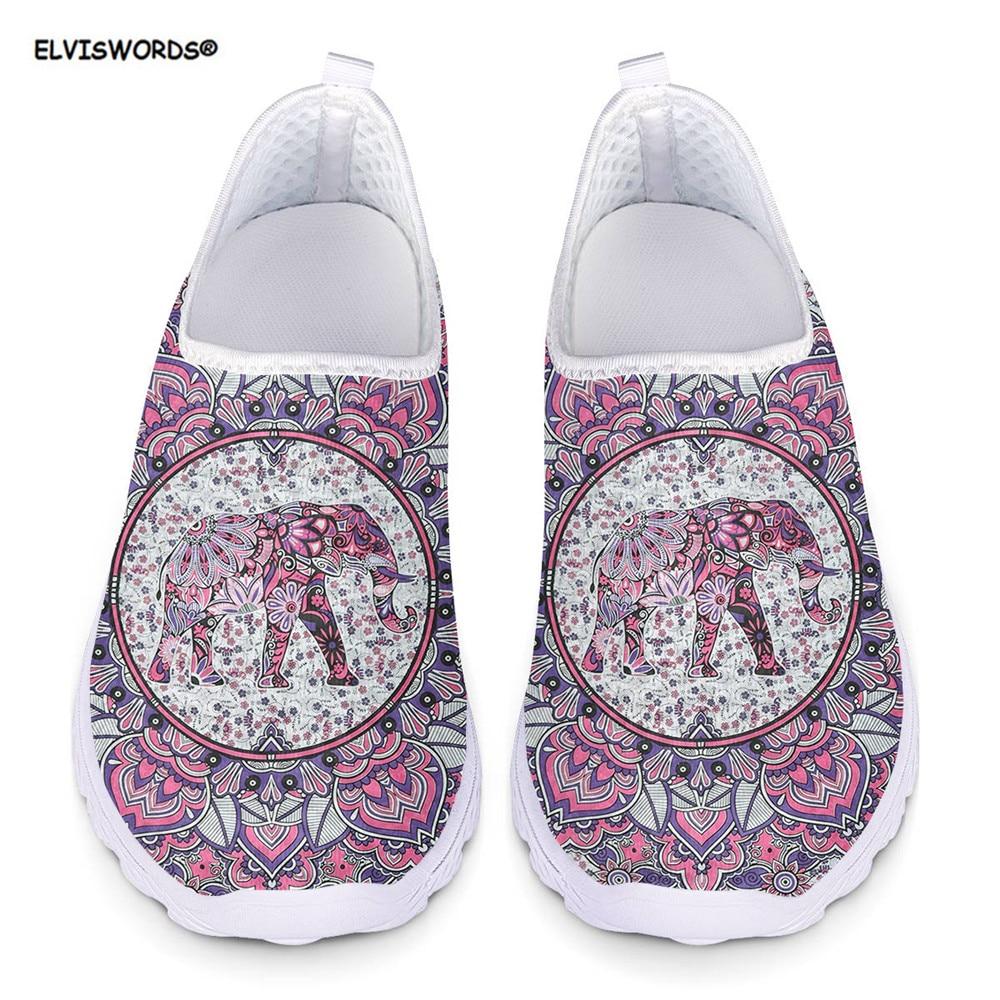 ELVISWORDS Bohemia Elephant Mandala Style Summer Women Sneakers Flats Mesh Breathable Ladies Beach Loafers Shoes Woman Zapatos
