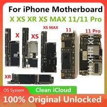 Desbloqueado para iphone 11 x xs xr xs max 11 pro placa mãe sem rosto id limpo para iphone 4S placa lógica mainboard
