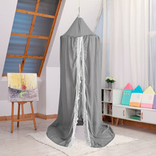 94.5in High Kids Round Dome Crib Canopy Chiffon with Lace Princess Girls Castle Hanging Mosquito Net for Rooms Cribs Decoration(China)
