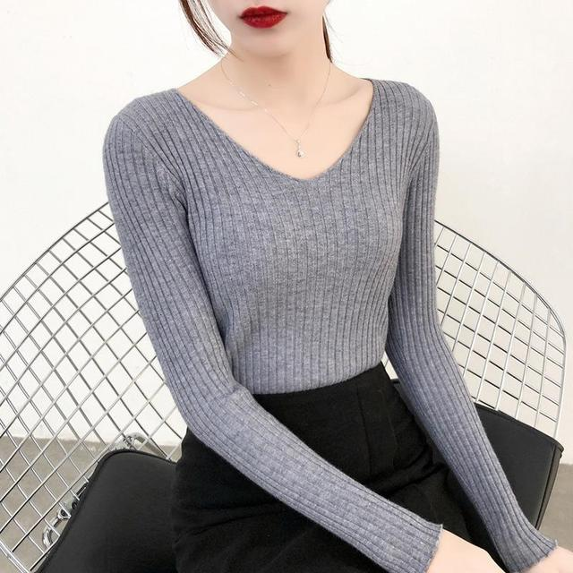 Women Casual Slim V-Neck Bottoming Sweaters Knitting Rendering Unlined Upper Long Sleeve Solid Color Pullover Sweaters for Women 10