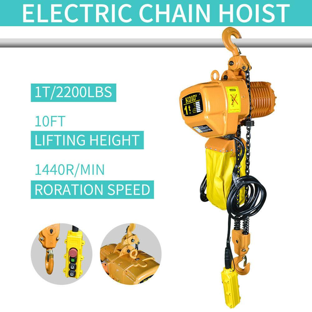 Electric Chain Hoist 2200 Lb. Electric Crane Hoist HD Super 1 Ton 10ft Lift Only Suits For American 3Phase 220V