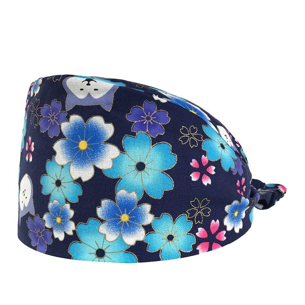 VIAOLI Beauty Salon Surgical Hats Hospital Doctor Nurse Medical Caps Adjustable Printing Nursing Scrubs Hat Clinic Pharmacy Cap