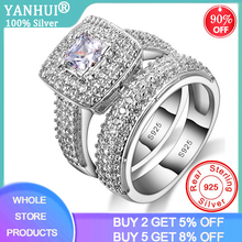 With Certificate Luxury Real 925 Silver Wedding Bands Ring Set Inlay 5A Cubic Zirconia Couple Pair Rings Fine Jewelry For Women cheap yanhui 925 Sterling Third Party Appraisal Prong Setting See Pics CER149 ROUND Classic S925 Gift Ring Box with certificate and Polishing Cloth