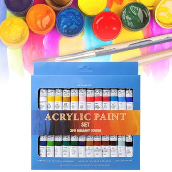 цена на 24 Colors Acrylic Paints Set 12ml Tubes Drawing Painting Pigment Hand-painted Wall Paint For Artist DIY H7EC