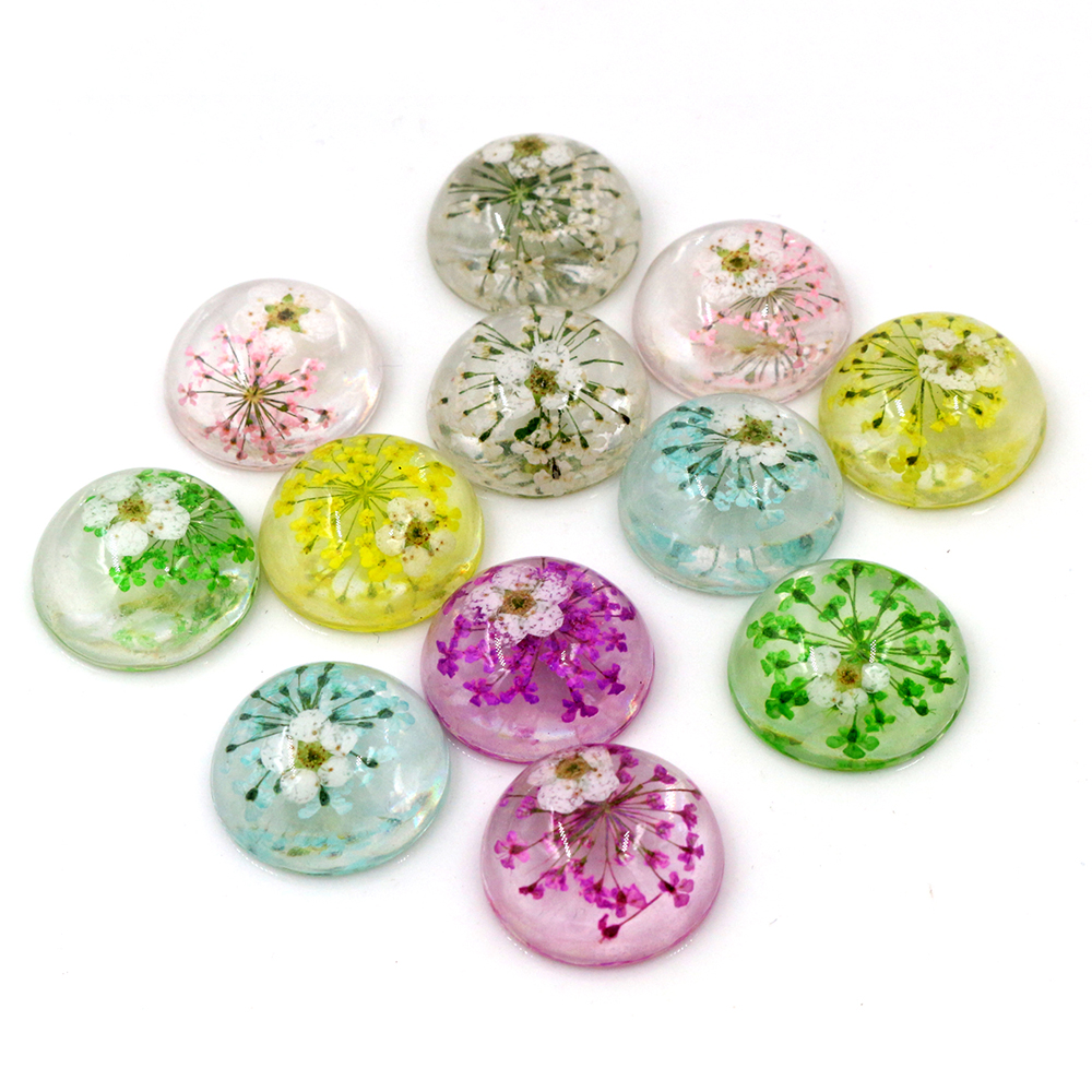 New Fashion 10pcs Fit 20mm Blue White Yellow Green Pink Purple Natural Dried Chrysanthemum Flowers Cabochons Cameo