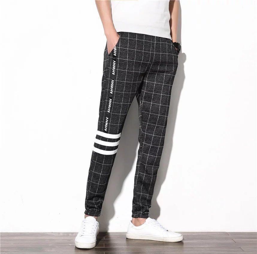 Korean-style Slim Fit Pants Athletic Pants With Drawstring Couples Plaid MEN'S Casual Pants Summer Fashion College Style Capri P