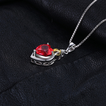 Heart Created Ruby Pendant Sterling Silver Gemstones Statement Necklace  2