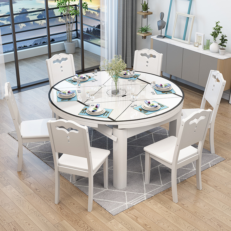 US $306.73 |Solid Wood Dining Tables And Chairs Set Telescopic Folding  round Table Modern Minimalist Household with Electromagnetic Furnace on ...