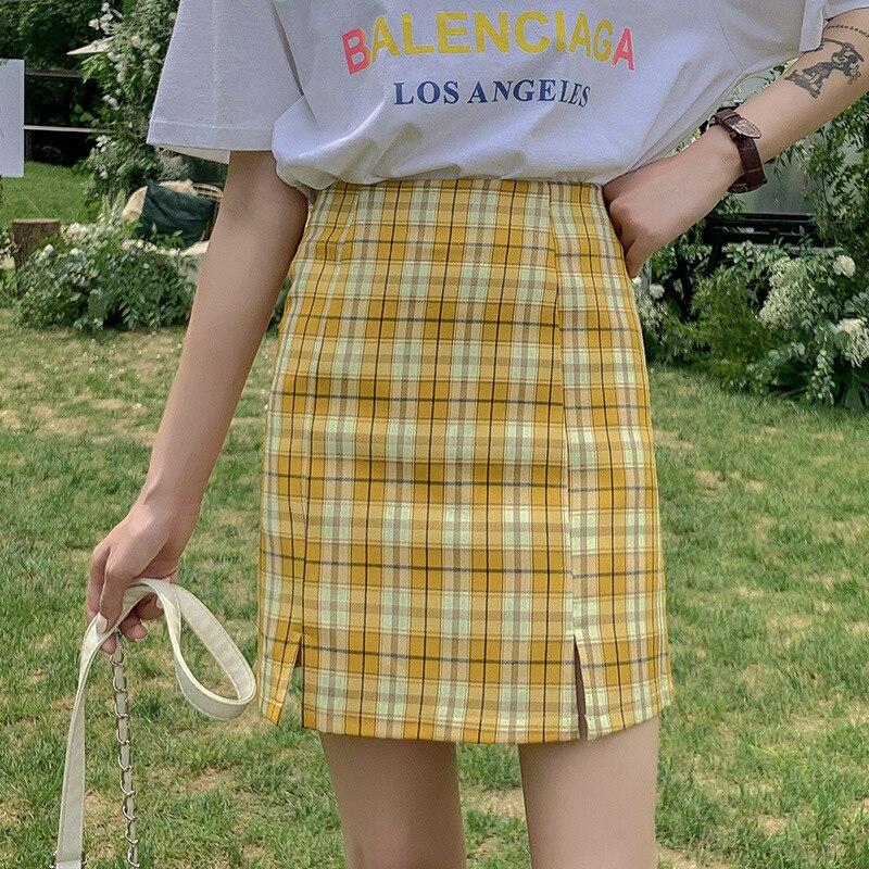 Женская клетчатая мини юбка QRWR, облегающая юбка с Боковым Разрезом, Уличная Повседневная юбка карандаш для лета и осени 2020|Юбки|   | АлиЭкспресс
