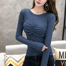 Women T-Shirt Two False PCS Wrap Chest Tops Long Sleeve O-Neck Casual T Shirt Women 2019 Spring Fall Leisure Ladies Tops C409