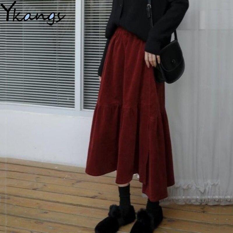 Женская Вельветовая юбка средней длины, винтажная длинная Плиссированная юбка-трапеция винного цвета с высокой талией и поясом на резинке, ...