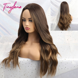 TINY LANA Long Synthetic Wigs Ombre Brown Blonde Middle Part Heat Resistant Wavy Wigs For Women Cosplay Party(China)
