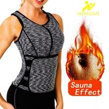Ningmi mulheres sauna colete emagrecimento cintura trainer barriga trimmer corpo shaper magro neoprene suor camisa zíper perda de peso tanque topo