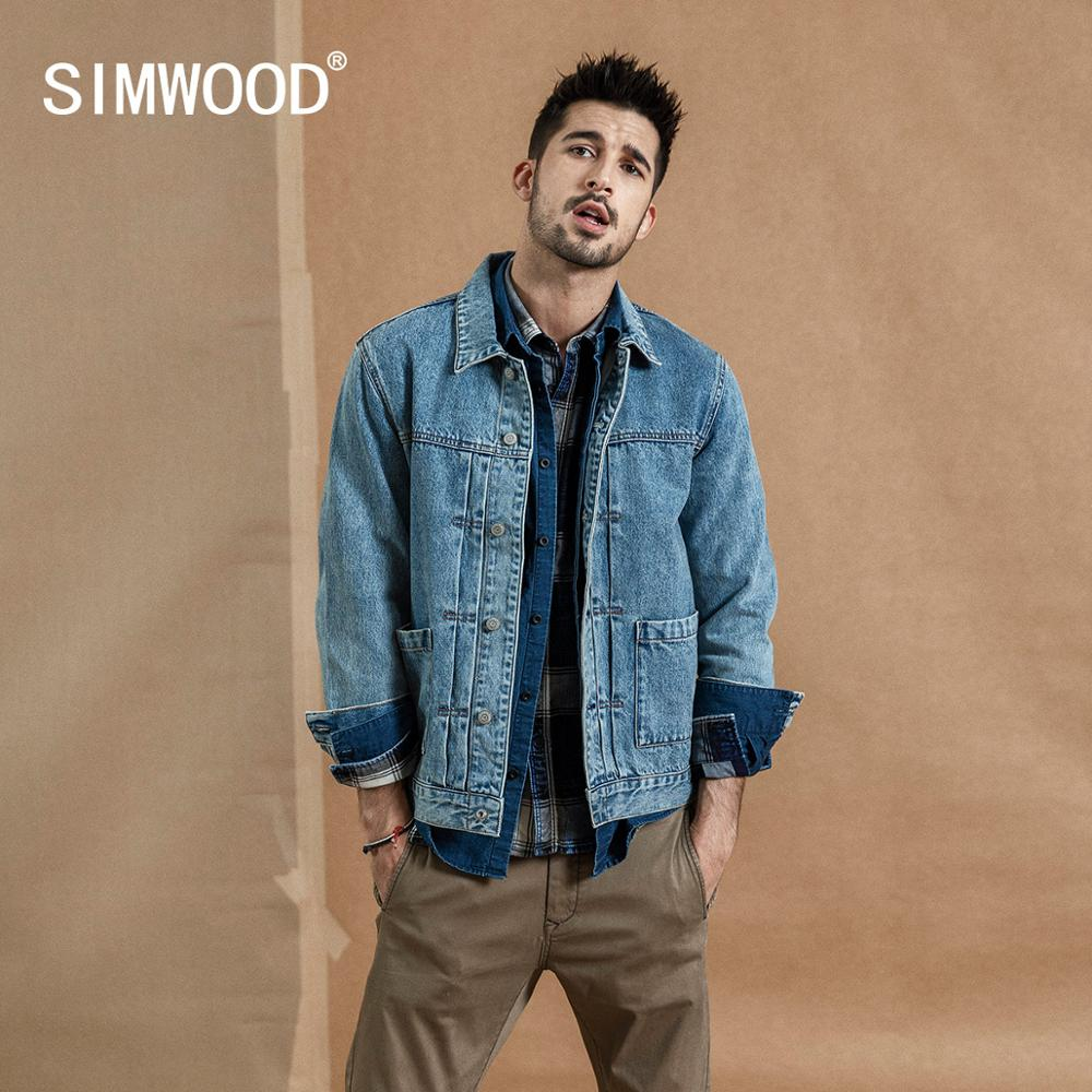 SIMWOOD 2019 autumn winter new denim jacket men cotton fashion ruched design streetwear coat plus size qualited jackets 190366 in Jackets from Men 39 s Clothing