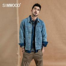 SIMWOOD 2019 autumn winter new denim jacket men cotton fashion ruched design streetwear coat plus size qualited jackets 190366