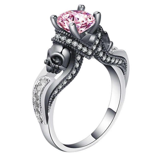 ผู้หญิง Skull แหวนสีชมพูสีแดงสีดำสีม่วงสีน้ำเงินสีเขียว CZ หิน Punk สไตล์ PARTY แหวน Birthstone Skull Men เครื่องประดับแหวน
