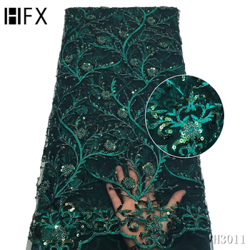 HFX African Lace Fabric 2020 High Quality 3D Handmade Heavy Beaded Lace Fabric Nigerian Tulle Lace Fabric for Wedding F3011