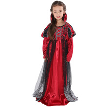 Vampire Costume Cosplay For Girls Halloween Costume For Kids Vampire Princess Dress Up halloween costumes for girls princess dress kids vampire clothes cosplay bat set for party outfit boys costume children clothing