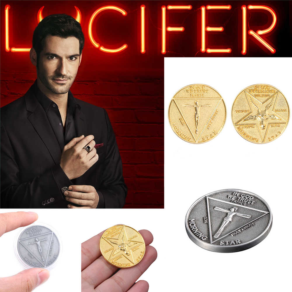 Tv Show Lucifer Morningstar Satanic Pentecost Cosplay Coin Herdenkingsmunt Badge Halloween Morning Star Accessoires Prop Coin