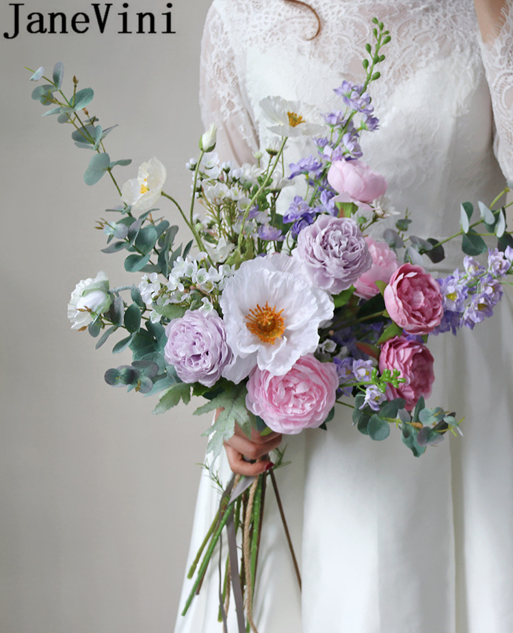 JaneVini Western Style Purple Artificial Wedding Bouquets 2020 Lavender Silk Rose Bridal Dried Flowers Fake Bride Bouquet Peony