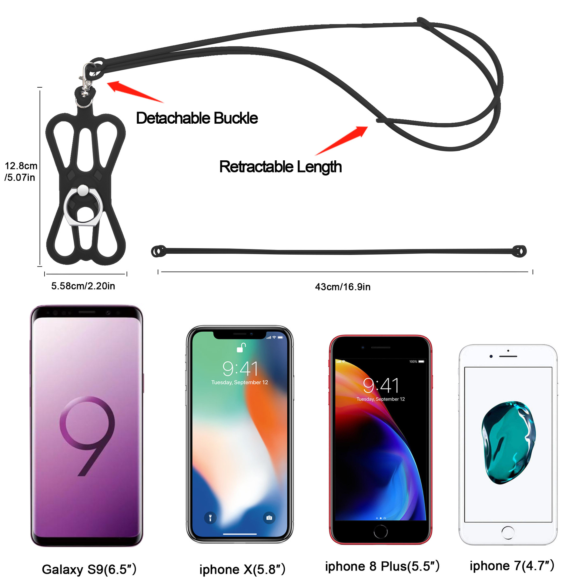 NEW Silicone Lanyard Cover Holder Sling Wrist Strap For Cell Phone iPhone Black