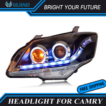 Car Front Lamps for Toyota Camry Headlight 2009 2010 2011 Head Lamp Angel-Eye Projector double-lights lens