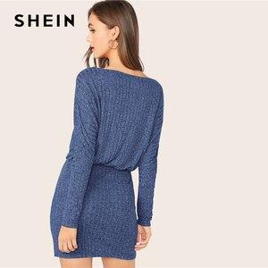 Image 4 - Женское трикотажное платье блузон SHEIN, Бордовое платье в рубчик с рукавами «летучая мышь», элегантное осеннее мини платье с вырезом лодочкой и длинным рукавом