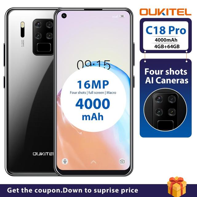 """4G LTE Android 9.0 Smartphone OUKITEL C18 Pro 4G RAM 64G ROM Mobile Phon 6.55""""HD  MTK6757 Octa Core 16MP 4 Cameras 4000mAh 5V2A 2"""