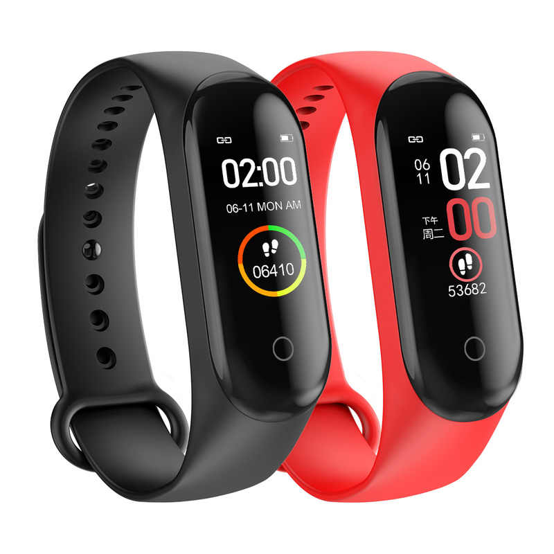 2020 Sport Running Stappenteller M4 Smart Polsband Hartslag Waterdichte Touch Screen Bluetooth Fitness Tracker Stappenteller