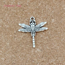 Cute Dragonfly Alloy charm Pendants 100Pcs/lot Antique silver Fashion Jewelry DIY Fit Bracelets Necklace 28.2x 31.8mm A-555