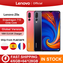 Version mondiale originale Lenovo Z5s Snapdragon 710 Octa Core 64GB 128GB téléphone portable 6.3 pouces AI Triple caméra arrière Android P