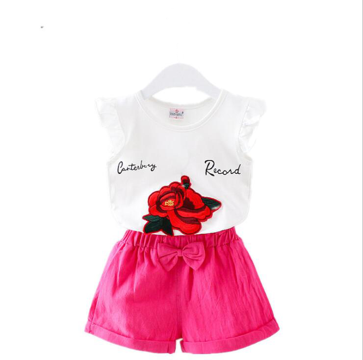 Baby Girls Summer Tank Outfits 6m 12m 2T 3T Toddler Kids Baby Girls Outfits Cotton Tee+Shorts Pants Clothes Set Rose