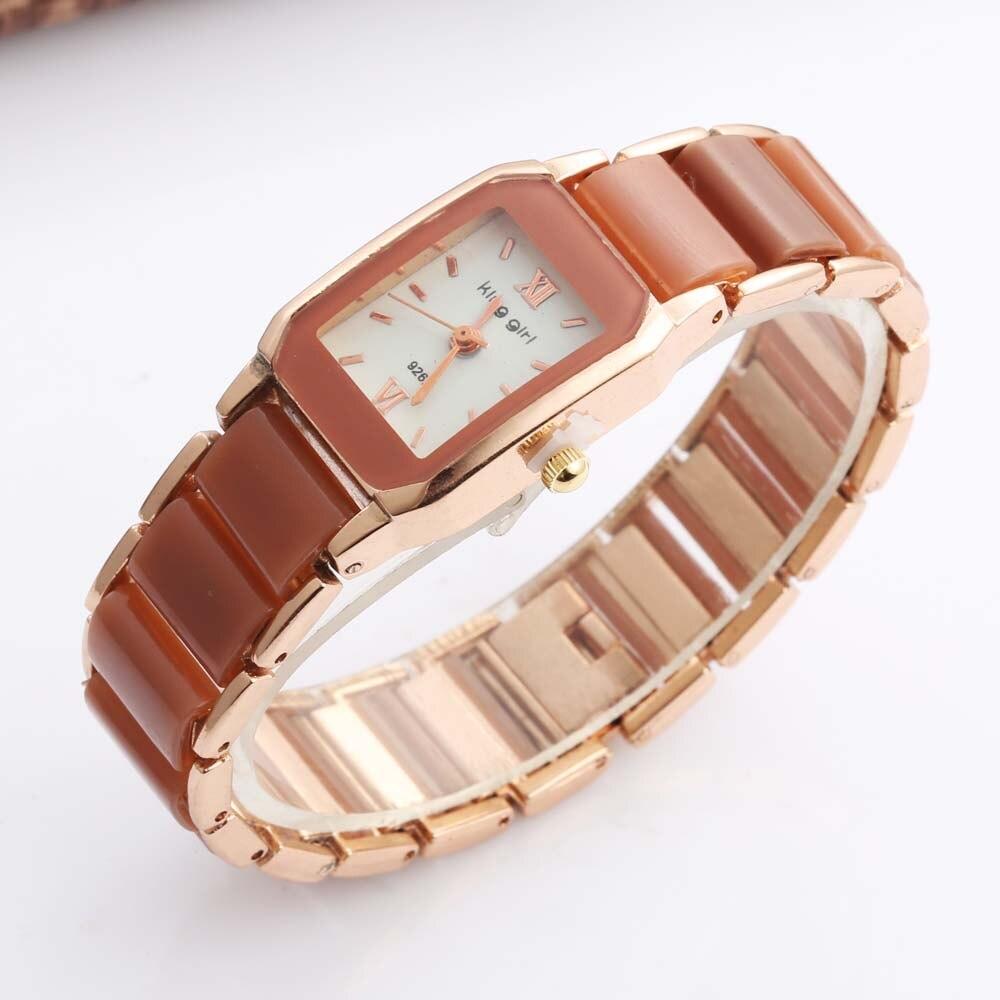 King Girl Women's Watches Casual Quartz Wristwatches Fashion Rectangle Watches Women Imitation Ceramic Watch Relogio Feminino