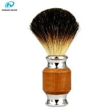 HAWARD saf porsuk saç tıraş fırçası kauçuk ahşap ve çinko alaşımlı kolu erkek tıraş köpük fırça profesyonel güvenlik jiletli fırça