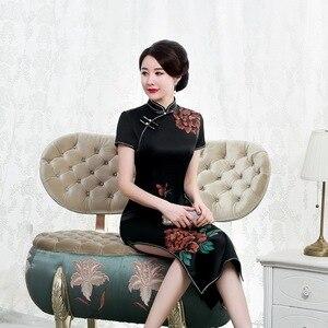Image 4 - 2019 gerçek stil boyama ağır ipek Cheongsam uzun kısa kollu fabrika doğrudan satış büyük boy kadın yüksek son zarif
