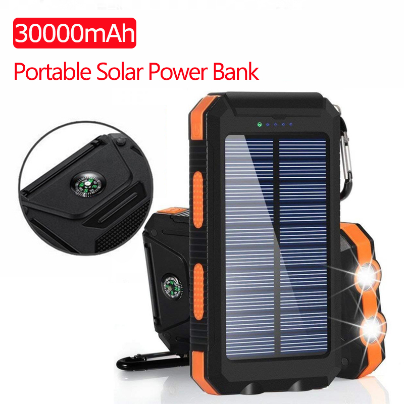 Solar Power Bank 30000mAh USB Powerbank Battery External Portable Waterproof Charging LED Light 2 USB Outdoor Light Powerbank