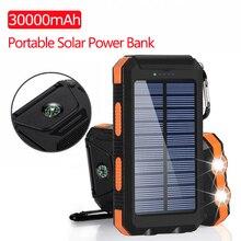Solar Power Bank 30000mAh USB Powerbank Battery External Por