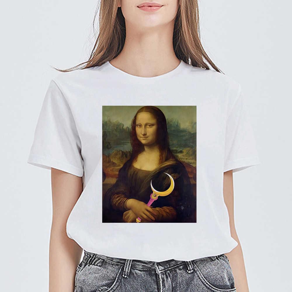 Nuove Donne Della MAGLIETTA di Moda Retrò Sexy Mona Lisa Estetica T-Shirt Bella Tshirt Divertente Grafica Vestidos Harajuku Fresco Pantaloni A Vita Bassa Top