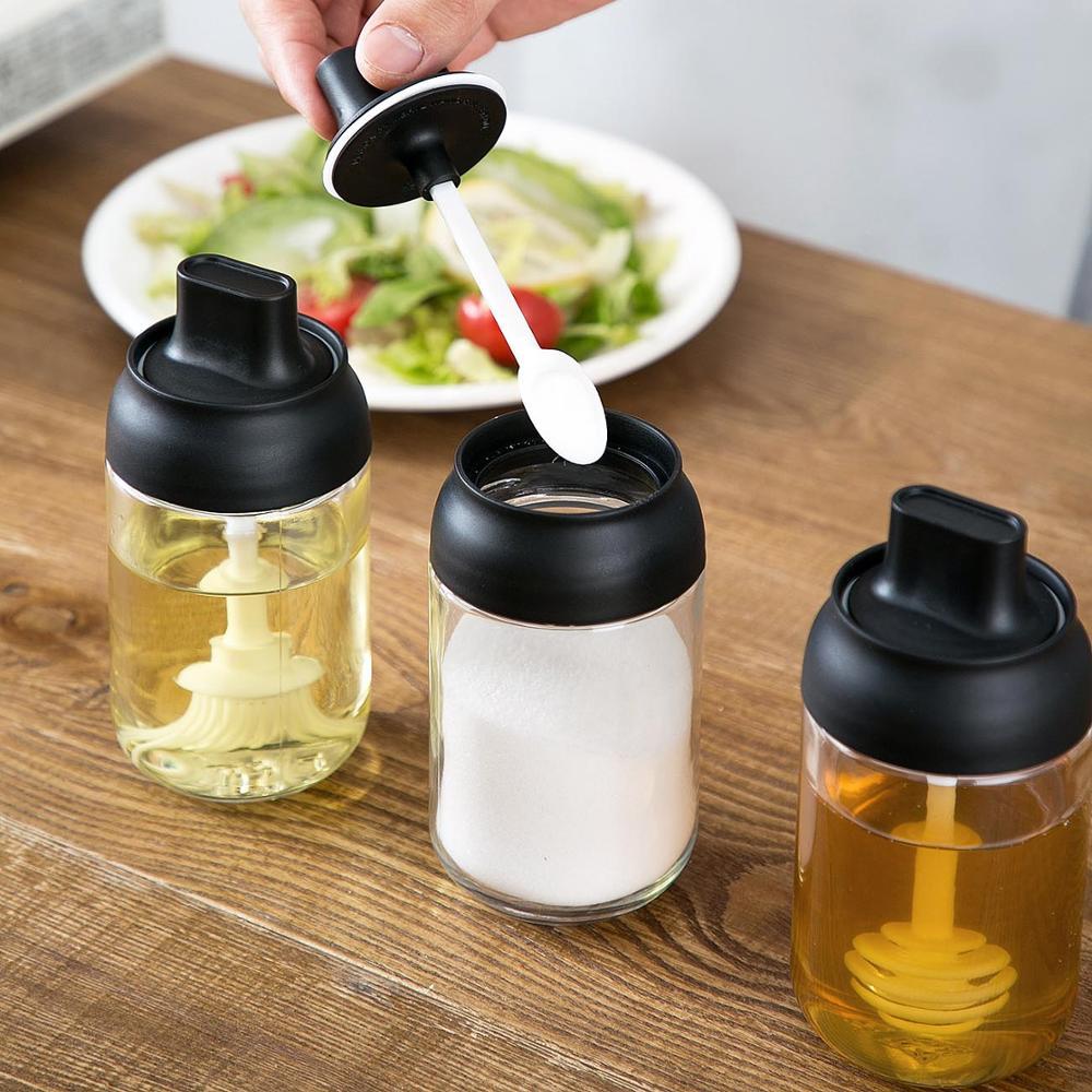 BBQ Baking Olive Oil Spray Bottle Honey Dispenser Kitchen Supplies Seasoning Container Glass Sauce Bottle Spice Jar Salt Shaker