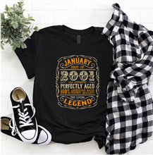 Janeiro melhor de 2001 a lenda viva presente de aniversário masculino t camisa s 5xl preto