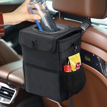 Samochodowy kosz na śmieci kreatywny składany schowek pudełko do przechowywania trwałość wodoodporny uniwersalny kosz na śmieci pojemnik na śmieci w samochodzie łatwe do czyszczenia umyć tanie i dobre opinie Rolling typu pokrywy Plac Przechowywania wiadro Oxford tkaniny Black Durability Waterproof Multi-Function Universal