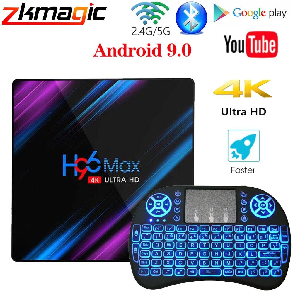 H96 MAX Android 9.0 TV Box Rockchip RK3318 4GB RAM 64GB 32GB  H.265 Media player 4K Google Voice Assistant Netflix Youtube TV  BoxSet-top Boxes