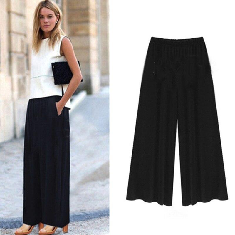 Plus Size Fashion Women Culotte Pants Solid Color Trousers Elastic Waist Band Loose Casual Pant