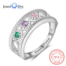 JewelOra 925 Sterling Silver Personalized Promise Rings with 3 Birthstones Custom Name Infinity Love Wide Ring Wedding Jewelry(China)