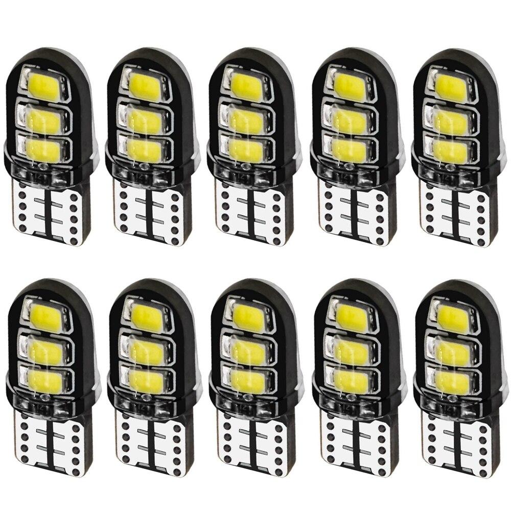 10 pçs t10 w5w sílica gel 6 smd led interior do carro luz de leitura cúpula wy5w cunha estacionamento lâmpada turno lado lâmpadas vermelho branco amarelo azul
