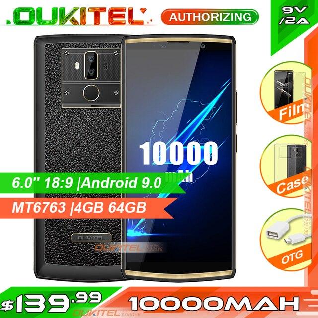 هاتف ذكي OUKITEL K7 Pro 6.0 18:9 10000mAh MT6763 4GB 64GB أندرويد 9.0 بصمة وجه معرف 9V/2A هاتف محمول