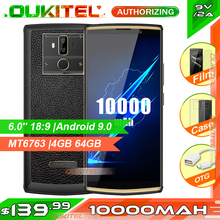 OUKITEL K7 Pro 6.0 18:9 10000mAh Smartphone MT6763 4GB 64GB Android 9.0 Fingerprint Face ID 9V/2A Mobile Phone